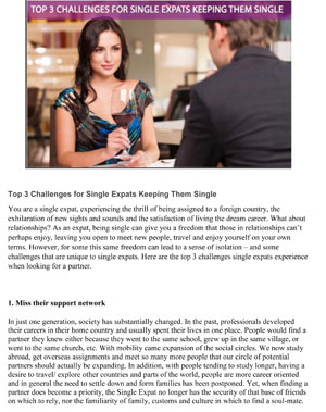 Trea Tijmens International Matchmaker contributed to the Expatriates Magazine on challenges for single expats