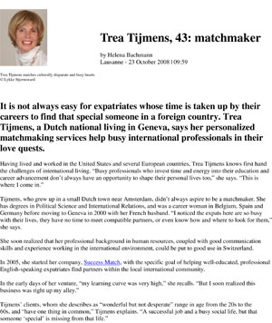 trea tijmens matchmaker helps busy single international professionals to find love