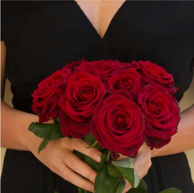 woman valentine roses